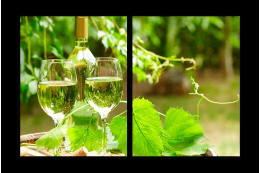Модульная картина Бокалы белого вина